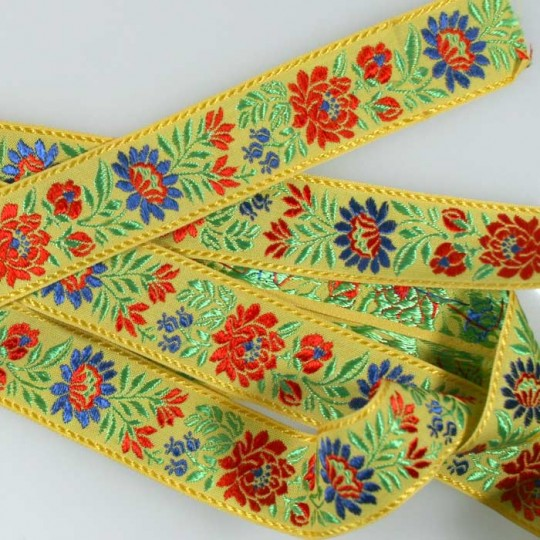 "Yellow Floral Folk Costume Trim ~ Czech Republic ~ 1-3/8"" wide ~ Cotton and Rayon"
