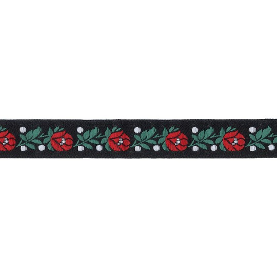 "Black Floral Folk Costume Trim ~ Czech Republic ~ 3/4"" wide ~ Polyester"