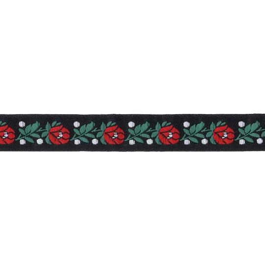"Black Floral Folk Costume Trim ~ Czech Republic ~ 3/4"" wide ~ Polyester"