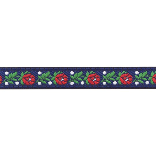 "Blue Floral Folk Costume Trim ~ Czech Republic ~ 3/4"" wide ~ Polyester"
