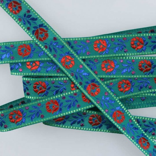 "Green Floral Folk Costume Trim ~ Czech Republic ~ 3/4"" wide ~ Cotton and Rayon"
