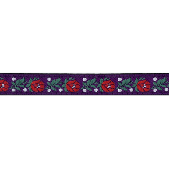 "Purple Floral Folk Costume Trim ~ Czech Republic ~ 3/4"" wide ~ Cotton and Rayon"