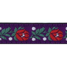 "Purple Floral Folk Costume Trim ~ Czech Republic ~ 3/4"" wide ~ Cotton and Rayon"