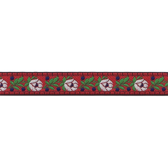 "Red Floral Folk Costume Trim ~ Czech Republic ~ 3/4"" wide ~ Polyester"