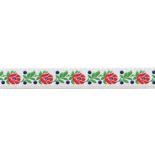 "White Floral Folk Costume Trim ~ Czech Republic ~ 3/4"" wide ~ Polyester"