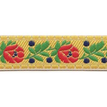 "Yellow Floral Folk Costume Trim ~ Czech Republic ~ 3/4"" wide ~ Polyester"