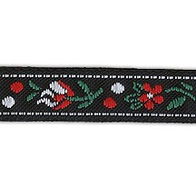 "Petite Black, Red and White Floral Folk Costume Trim ~ Czech Republic ~ 3/8"" wide"