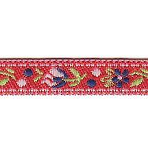 """Petite Red Floral Folk Costume Trim ~ Czech Republic ~ 3/8"""" wide"""