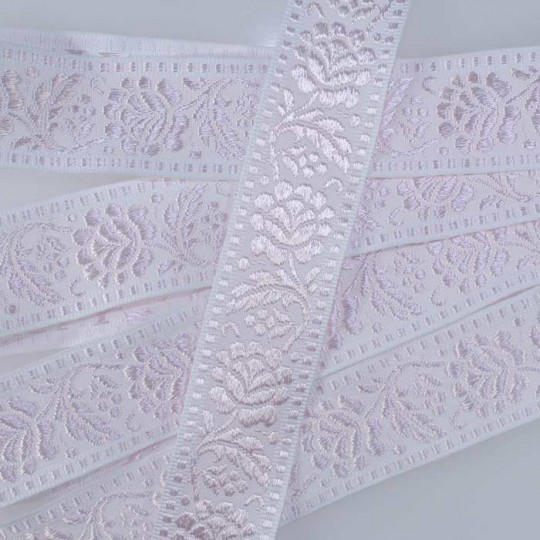 """Pink and White Floral Jacquard Trim ~ Czech Republic ~ 1-5/8"""" wide"""