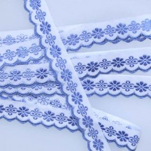 "Scalloped Blue Floral Woven Trim ~ Czech Republic ~ 3/4"" wide"