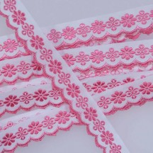 "Scalloped Pink Floral Woven Trim ~ Czech Republic ~ 3/4"" wide"