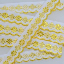 "Scalloped Yellow Floral Woven Trim ~ Czech Republic ~ 3/4"" wide"