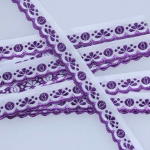 "Scalloped Purple Flower and Leaf Woven Trim ~ Czech Republic ~ 3/4"" wide"