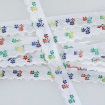 "Scalloped Multi-Color Floral Woven Trim ~ Czech Republic ~ 5/8"" wide"
