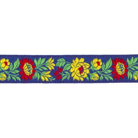 "Blue and Yellow Floral Folk Costume Trim ~ Czech Republic ~ 1-3/8"" wide ~ Cotton"