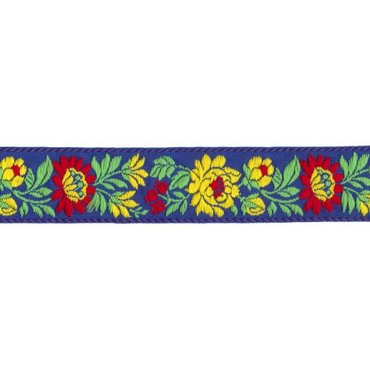 "Blue and Yellow Floral Folk Costume Trim ~ Czech Republic ~ 1-3/8"" wide ~ Cotton"