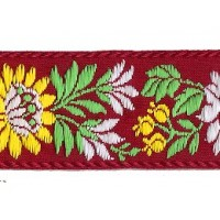 "Burgundy and Yellow Floral Folk Costume Trim ~ Czech Republic ~ 1-3/8"" wide ~ Cotton"