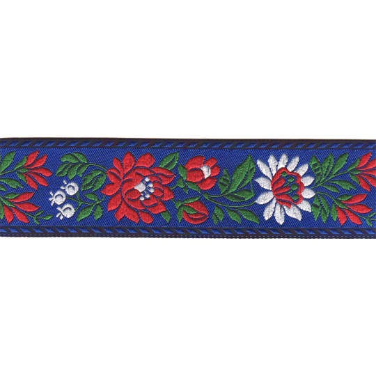 "Blue Floral Folk Costume Trim ~ Czech Republic ~ 1-3/8"" wide ~ Polyester"