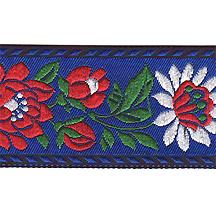 "Blue Floral Folk Costume Trim ~ Czech Republic ~ 1-3/8"" wide ~ Polyester"