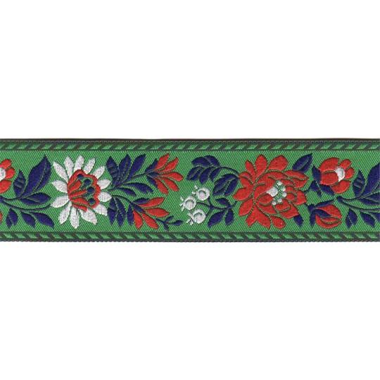 "Green Floral Folk Costume Trim ~ Czech Republic ~ 1-3/8"" wide ~ Polyester"