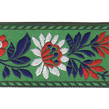 "Green Floral Folk Costume Trim ~ Czech Republic ~ 1-3/8"" wide ~ Polyester"