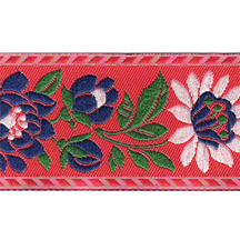 "Red Floral Folk Costume Trim ~ Czech Republic ~ 1-3/8"" wide ~ Polyester"