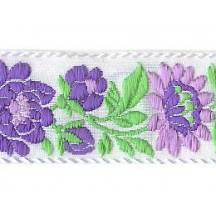 "White and Lavender Floral Folk Costume Trim ~ Czech Republic ~ 1-3/8"" wide ~ Cotton"