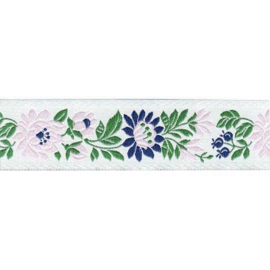 "White and Pale Pink Floral Folk Costume Trim ~ Czech Republic ~ 1-3/8"" wide ~ Polyester"