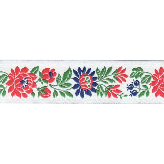 "White and Red Floral Folk Costume Trim ~ Czech Republic ~ 1-3/8"" wide ~ Polyester"