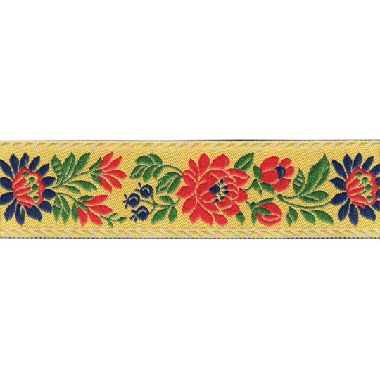 "Yellow Floral Folk Costume Trim ~ Czech Republic ~ 1-3/8"" wide ~ Polyester"