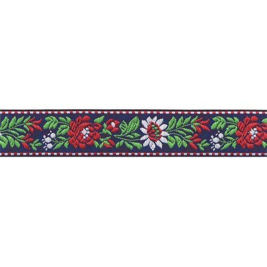 "Blue, White and Red Floral Folk Costume Trim ~ Czech Republic ~ 7/8"" wide"