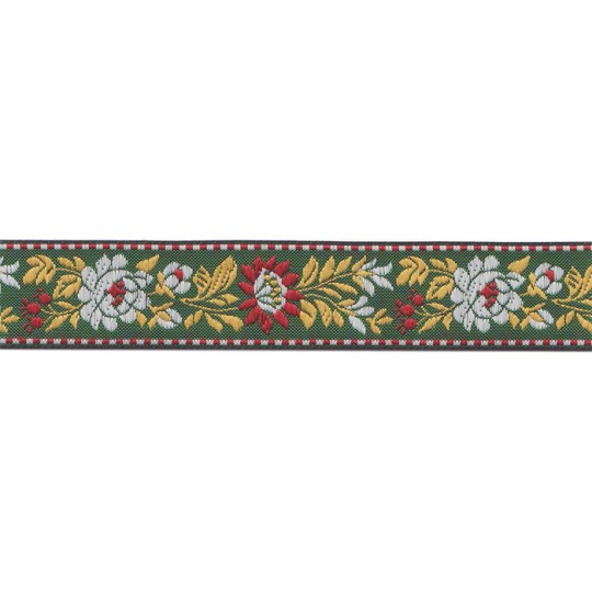"Green and Red Floral Folk Costume Trim ~ Czech Republic ~ 7/8"" wide"