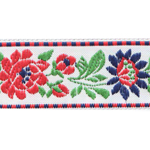 "White and Red Floral Folk Costume Trim ~ Czech Republic ~ 7/8"" wide"
