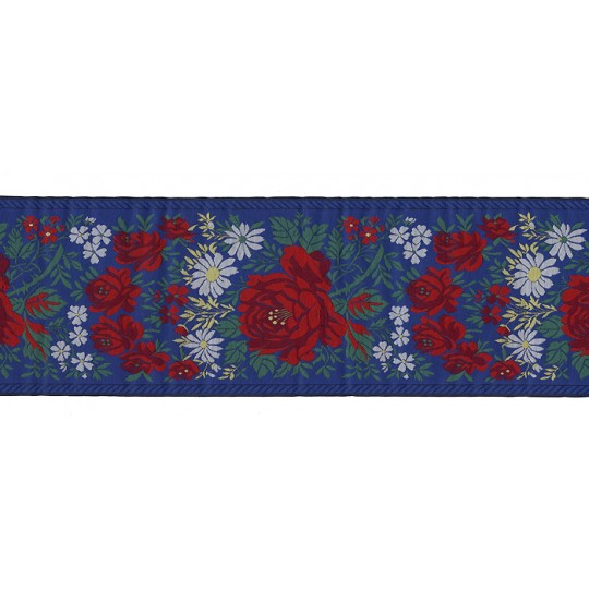 "Extra Wide Blue Floral Folk Costume Trim ~ Czech Republic ~ 3-7/8"" wide"