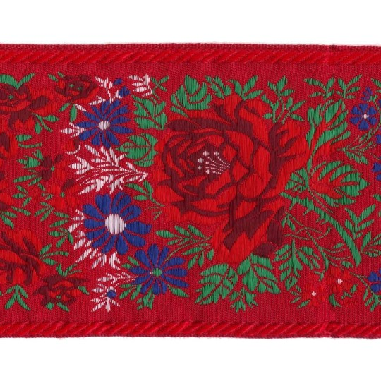 "Extra Wide Red Floral Folk Costume Trim ~ Czech Republic ~ 3-7/8"" wide"