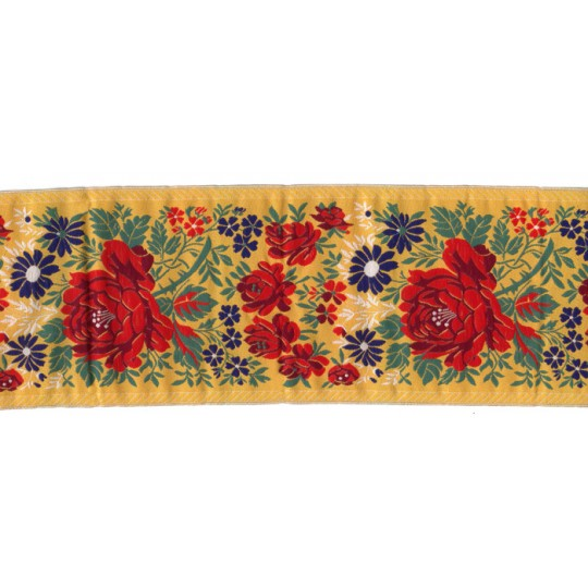 "Extra Wide Yellow Floral Folk Costume Trim ~ Czech Republic ~ 3-7/8"" wide"