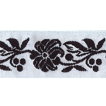 "Black and White Floral Folk Costume Trim ~ Czech Republic ~ 7/8"" wide"