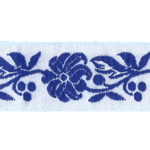 "Blue and White Floral Folk Costume Trim ~ Czech Republic ~ 7/8"" wide"