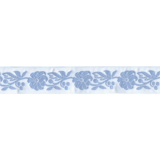 "Light Blue and White Floral Folk Costume Trim ~ Czech Republic ~ 7/8"" wide"