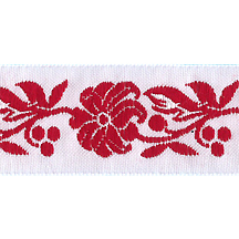 "Red and White Floral Folk Costume Trim ~ Czech Republic ~ 7/8"" wide"