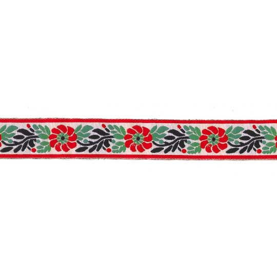 "White and Red Floral Folk Costume Trim ~ Czech Republic ~ 1"" wide ~ Polyester"