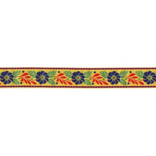 "Yellow Floral Folk Costume Trim ~ Czech Republic ~ 1"" wide ~ Polyester"
