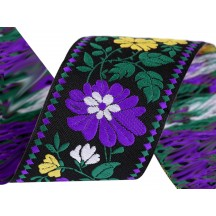 """Purple and Yellow Floral Folkloric Costume Trim ~ Czech Republic ~ 1-3/4"""" wide"""