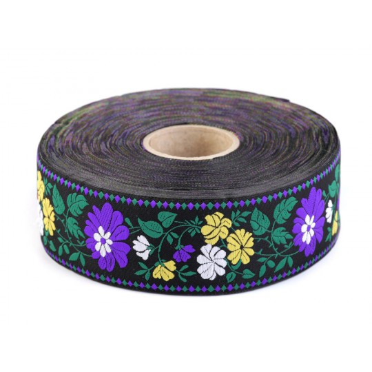"Purple and Yellow Floral Folkloric Costume Trim ~ Czech Republic ~ 1-3/4"" wide"