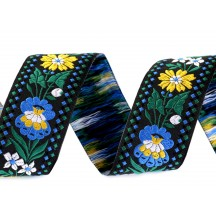 "Blue and Yellow Floral Folkloric Costume Trim ~ Czech Republic ~ 1-3/8"" wide"