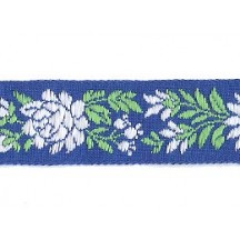 "Blue, White and Green Floral Folk Costume Trim ~ Czech Republic ~ 7/8"" wide ~ Cotton"