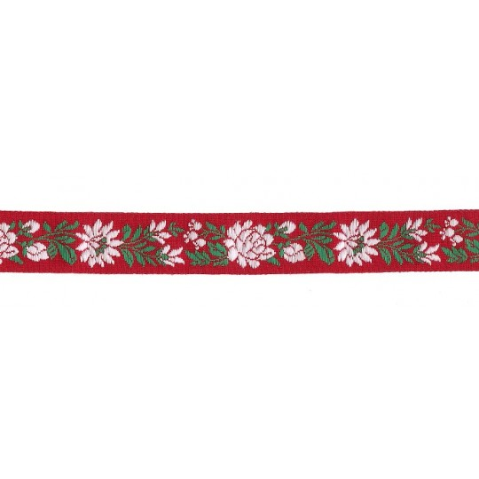 "Red, White and Green Floral Folk Costume Trim ~ Czech Republic ~ 7/8"" wide ~ Cotton"