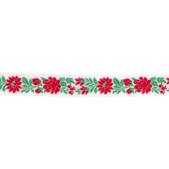 "White, Red and Green Floral Folk Costume Trim ~ Czech Republic ~ 7/8"" wide ~ Cotton"