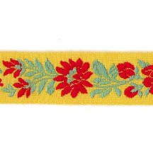 "Yellow, Red and Green Floral Folk Costume Trim ~ Czech Republic ~ 7/8"" wide ~ Cotton"