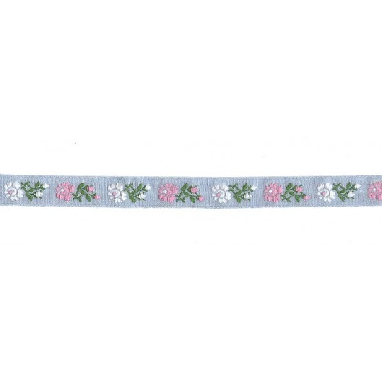 "Pink, White and Light Blue Floral Folk Costume Trim ~ Czech Republic ~ 1/2"" wide ~ Cotton"